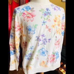 Vintage Floral Sweatshirt Pullover Crewneck Size L